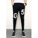 Men's Trendy Letter G5 Printed Metal Ring Embellished Black Drawstring Waist Casual Slim Pencil Pants