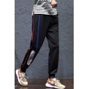 Men's Trendy Contrast Stripe Side Letter Printed Black Leisure Tapered Pants