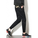 New Fashion Popular Camouflage Patched Drawstring Waist Elastic Cuffs Mens Casual Tapered Pants