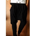 Guys Simple Fashion Solid Color Low Crotch Sweatpants Harem Pants with Side Pockets