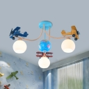 Propeller Gilder Ceiling Mount Light with Globe Creative Cool Metal Ceiling Lamp in Blue for Kindergarten