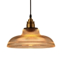Vintage Style Barn Pendant Light One Light Lattice Glass Hanging Light in Brass for Restaurant