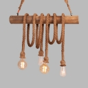 4 Heads Bare Bulb Island Light Rustic Stylish Wood Rope Island Pendant in Beige for Lodge