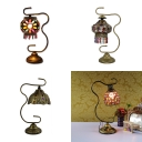 Metal Lantern Shape Desk Light Villa Hotel 1 Head Moroccan Style Table Lamp with Colorful Crystal