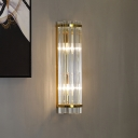 Crystal Cylindrical Wall Light Hotel Hallway Modern Luxurious Sconce Light in Gold Finish