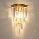 Contemporary Candle Wall Light Linear Clear Crystal Sconce Light in Gold for Bedroom Corridor
