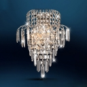 Clear Crystal Deco Sconce Light Elegant Style Metal Wall Lamp in Chrome for Dining Room