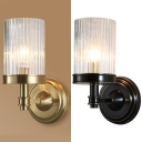 Metal Candle Wall Light with Cylinder Crystal Single Light Luxurious Wall Lamp in Black/Brass for Kitchen