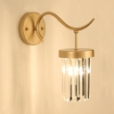 Corridor Bedroom Cylindrical Wall Light Metal & Clear Crystal One Light Gold Sconce Light