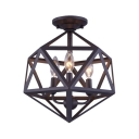 Candle Living Room Ceiling Mount Light with Cage Metal 3 Lights Retro Loft Ceiling Lamp in Black