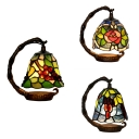 Stained Glass Grape/Rose Night Light 1 Head Vintage Tiffany Table Light for Living Room