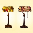 Grape/Rose Living Room Table Light with Pull Chain Stained Glass Single Light Tiffany Banker Lamp