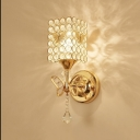 Gold Rectangle Wall Light 1 Light Elegant Metal Sconce Light with Crystal & Butterfly for Restaurant
