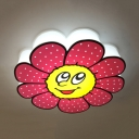 Acrylic Smiling Flower Ceiling Mount Light Cartoon LED Flush Light in Warm/White for Girls Bedroom