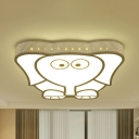 Bird/Elephant/Moon&Bear Flushmount Light Cartoon Metal Third Gear/White Ceiling Lamp for Kid Bedroom