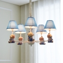 Lovely Monkey Pendant Light 5 Heads Metal Hanging Light with Dots Shade in Blue for Boys Bedroom
