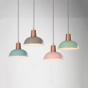 Restaurant Barn Shade Hanging Light Metal 1 Bulb Macaron Loft Blue/Gray/Green/Pink Pendant Light