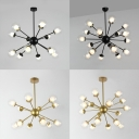 12/18 Light Sputnik Hanging Lamp Contemporary Style Glass Chandelier in Black/Gold for Villa