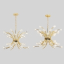 Luxurious Gold Pendant Lamp Blossom 32/48 Heads Metal Chandelier for Boutiques Cloth Shop