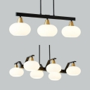 3/6 Lights Urn Island Light Modern Stylish Opal Glass Island Pendant in White for Kitchen Corridor