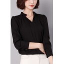 Womens Elegant Solid Color V-Neck Long Sleeve Simple Plain Chiffon Blouse Top