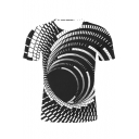 Unique 3D Whirlpool Print Round Neck Short Sleeve Black Tee
