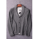 Grey Simple Plain Lapel Collar Button Down Fitted Knit Cardigan