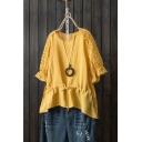 Womens Summer Round Neck Hollow Out Sleeve Drawstring Waist Plain Casual T-Shirt