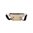 Summer Fashion Pineapple Floral Embroidery Pattern Straw Waist Belt Bag 31.5*12*6 CM