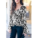 Womens Stylish Leopard Printed Ruffled Tied Surplice V-Neck Flared Long Sleeve Blouse