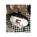 Stylish Letter GASTN GIRL Colorblock Stripe Printed White Crossbody Belt Bag 30*13 CM