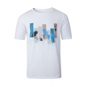 Mens Simple Printed Round Neck Short Sleeve Cotton Fitted White T-Shirt