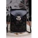 Women's Fashion Floral Printed PU Leather Crossbody Cell Phone Purse with Long Strap 12*2*18 CM