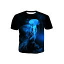 3D Blue Jellyfish Pattern Basic Round Neck Short Sleeve Regular Fit T-Shirt