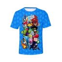 New Trendy Blue Cartoon Comic Character Printed Round Neck Short Sleeve T-Shirt