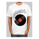 Musical Note Pattern Round Neck Short Sleeve White Casual T-Shirt