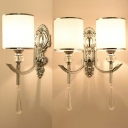 Traditional Cylinder Wall Lamp with Crystal Metal 1/2 Lights Chrome Sconce Light for Stair