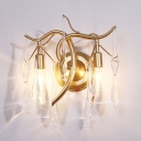 Twig Dining Room Wall Light Metal 2 Lights Contemporary Sconce Light with Teardrop Crystal in Gold