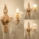 1 Light Petal Sconce Light with Striking Crystal Luxurious Style Metal Wall Lamp in Gold for Bathroom