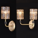 Corridor Porch Candle Wall Sconce with Cylinder Crystal Metal 1/2 Lights Modern Gold Wall Light