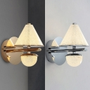 Contemporary Conical Sconce Light Metal Crystal Gold/Silver Wall Lamp for Office Bedroom
