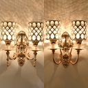 Metal Cylinder Sconce Light with Crystal Dining Room 2 Heads Modern Stylish Wall Lamp in Gold