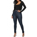 Womens Fashion High Rise Dark Blue Stretch Fit Skinny Jeans
