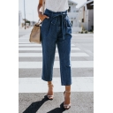Dark Blue Bow-Tied High Waist Casual Loose Cropped Tapered Jeans