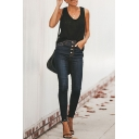 Womens Stylish Basic Button-Fly Raw Hem Skinny Fit Jeans