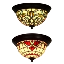 Vintage Tiffany Half-Globe Flush Ceiling Light Stained Glass Green/Red Ceiling Lamp for Cafe