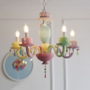 Kids Candle Pendant Lamp with Coffee Cup 5/6 Lights Resin Multi-Color Chandelier for Baby Bedroom
