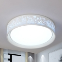 Hollow Shade Flush Mount Light Creative Modern Metal LED Ceiling Fixture in Warm/White for Balcony