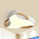 Nordic Style White Ceiling Mount Light Acrylic Wood LED Flush Light with Stepless Dimming/White for Living Room