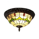 Multi-Color Floral Ceiling Lamp 2 Heads Rustic Tiffany Art Glass Flush Mount Light for Hallway